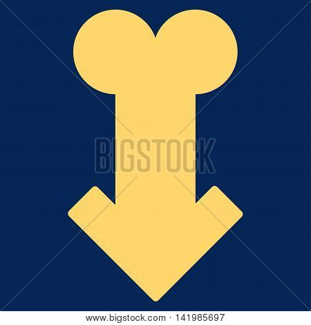 Male Sexual Disfunction vector icon. Style is flat symbol, yellow color, rounded angles, blue background.