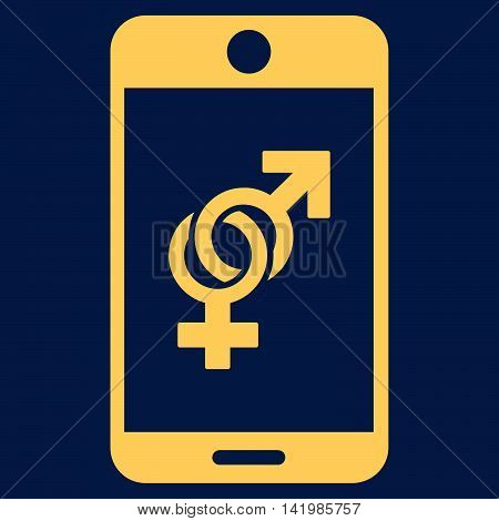 Mobile Dating vector icon. Style is flat symbol, yellow color, rounded angles, blue background.