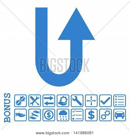 Turn Forward icon with bonus pictograms. Vector style is flat iconic symbol, cobalt color, white background. Bonus style is square rounded frames with symbols inside.