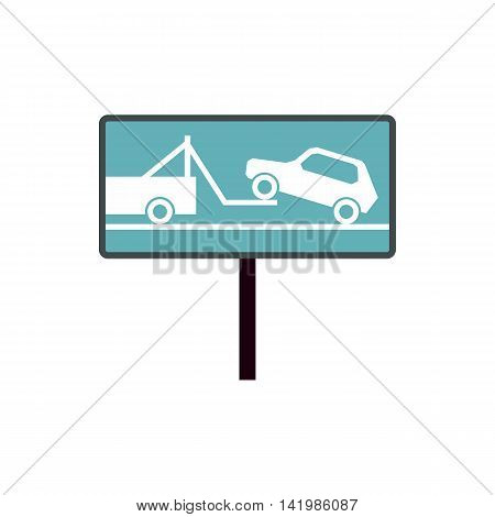 Tow away no parking sign icon in flat style isolated on white background