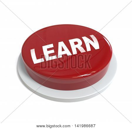 3D Rendering Of A Red Button With Learn Word  Written On It