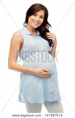 pregnancy, motherhood, people and expectation concept - happy pregnant woman touching her big belly over white background