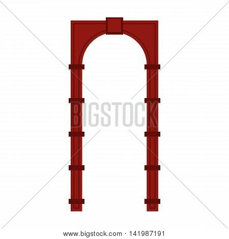 Red arch icon in flat style on a white background