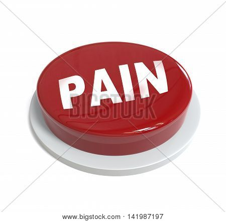 3D Rendering Of A Red Button With Pain Word  Written On It