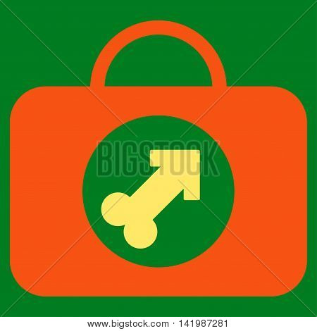 Male Erection Case vector icon. Style is bicolor flat symbol, orange and yellow colors, rounded angles, green background.
