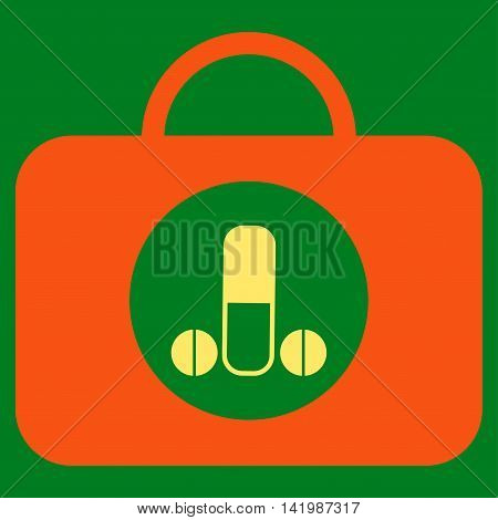 Male Sexual Toolbox vector icon. Style is bicolor flat symbol, orange and yellow colors, rounded angles, green background.