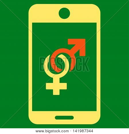 Mobile Dating vector icon. Style is bicolor flat symbol, orange and yellow colors, rounded angles, green background.