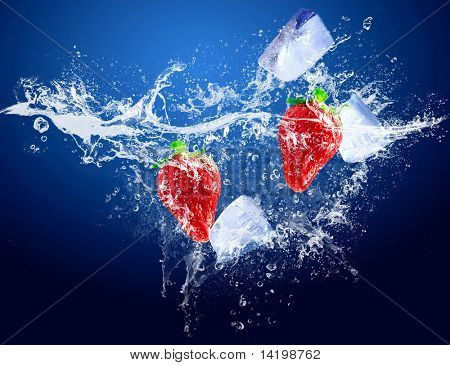 Water drops around strawberry and ice on blue background