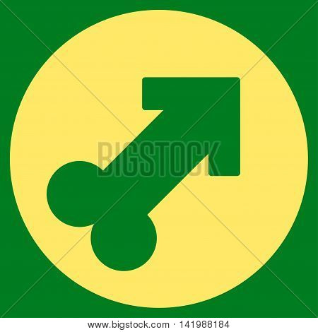 Erection vector icon. Style is flat symbol, yellow color, rounded angles, green background.