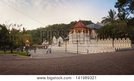 Kandy, Sri Lanka - January 5th 2016: Sri Dalada Maligawa or Temple of the Sacred Tooth Relic in Kandy which Houses Sri Lanka's Most Important Buddhist Relics - The Tooth of Buddha.