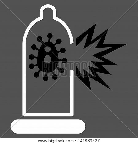 Damaged Condom With Virus vector icon. Style is bicolor flat symbol, black and white colors, rounded angles, gray background.