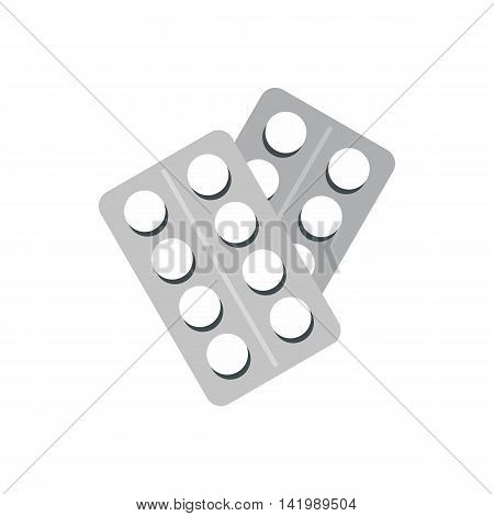 Round pills in blister packs icon in flat style on a white background