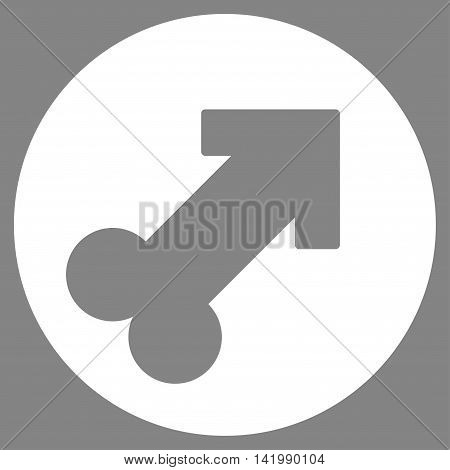 Erection vector icon. Style is flat symbol, white color, rounded angles, gray background.