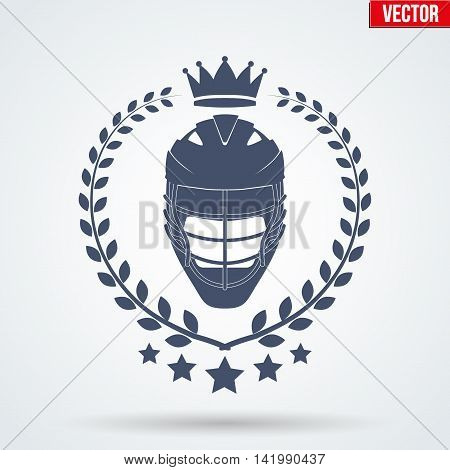 Lacrosse Club Badge and Label with helmet. Front view. Emblem of sport team. Vector icons isolated on background.