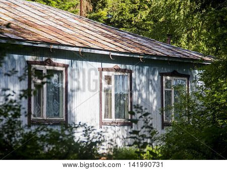 the abandoned house at wooden house in forest