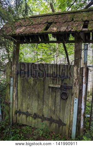 old abandoned wooden gate at the park
