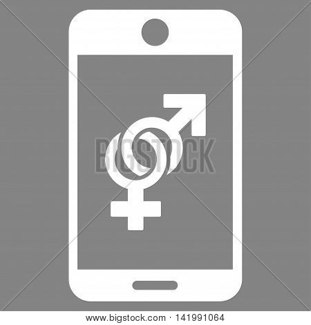 Mobile Dating vector icon. Style is flat symbol, white color, rounded angles, gray background.