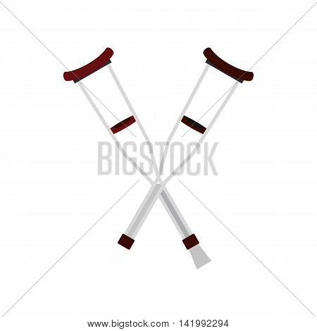 Axillary crutches icon in flat style on a white background