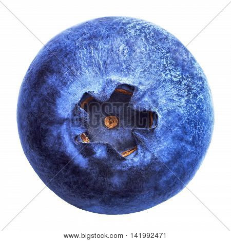Blueberry isolated on white background. Blueberries blue color is very close-up. The landscape is similar to blueberries planet. Image of blueberries with high resolution.
