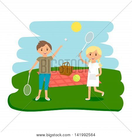 Happy kids picnic resting. Boy and girl outdoors on summer picnic. Vector Illustration