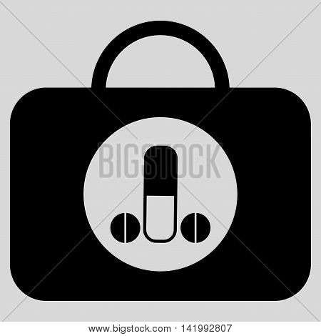 Male Sexual Toolbox vector icon. Style is flat symbol, black color, rounded angles, light gray background.