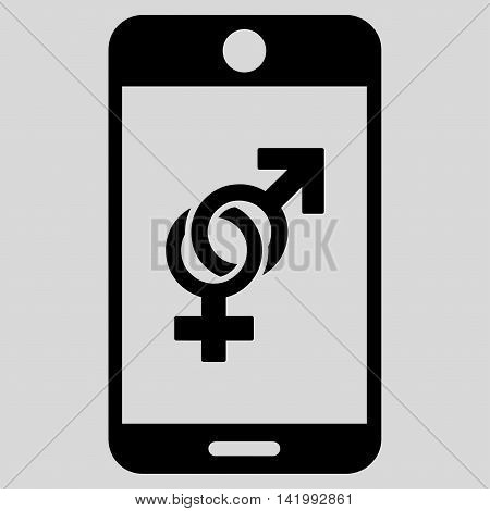 Mobile Dating vector icon. Style is flat symbol, black color, rounded angles, light gray background.