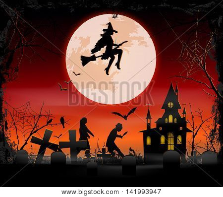 halloween background with witches and ghosts in the Scary old graveyard and church