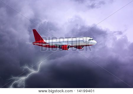 airplane in air on sky with lightning