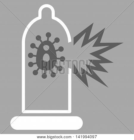 Damaged Condom With Virus vector icon. Style is bicolor flat symbol, dark gray and white colors, rounded angles, silver background.