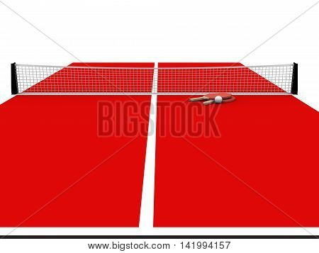3D rendering of red  table tennis table with bats and ball