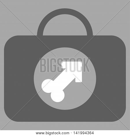 Male Erection Case vector icon. Style is bicolor flat symbol, dark gray and white colors, rounded angles, silver background.