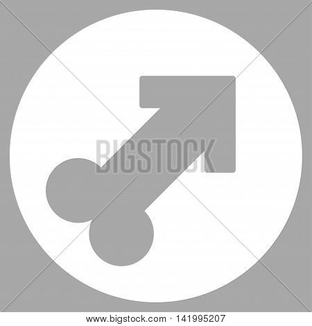 Erection vector icon. Style is flat symbol, white color, rounded angles, silver background.