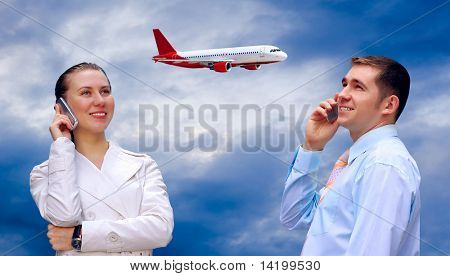 Happiness businessmens call by phone on blue sky with airplane background