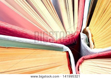 Top View Of Bright Colorful Hardback Books In A Circle. Open Boo