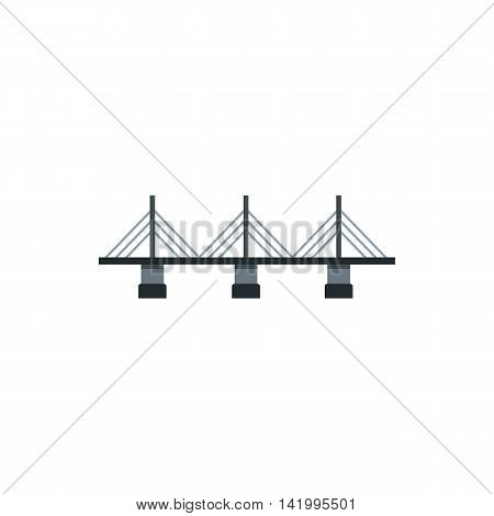 Suspension bridge icon in flat style on a white background