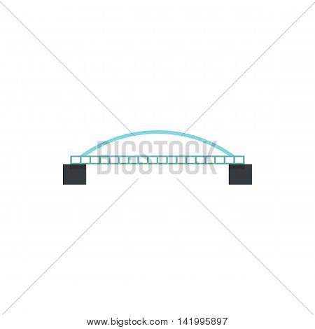 Bridge with arched railing icon in flat style on a white background