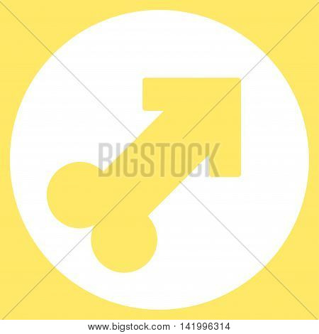 Erection vector icon. Style is flat symbol, white color, rounded angles, yellow background.