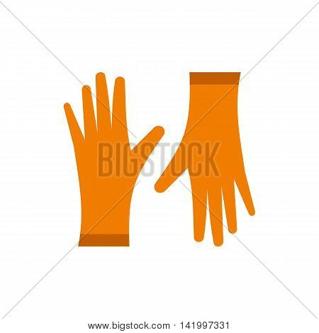 Pair of orange rubber gloves icon in flat style on a white background
