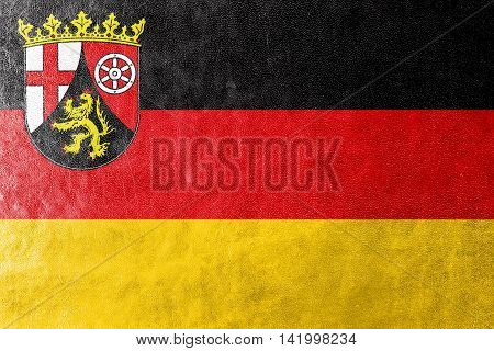 Flag Of Rhineland-palatinate, Germany, Painted On Leather Texture