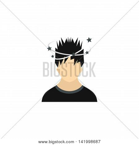 Man with dizziness icon in flat style on a white background