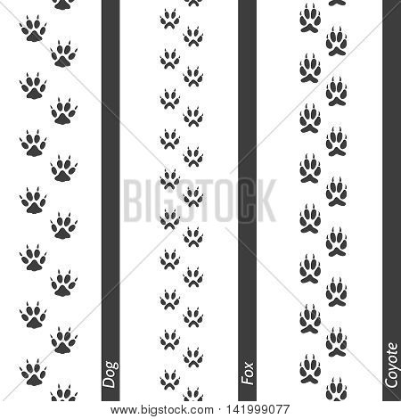 Animal footprints seamless border set. Vector footprint dog fox and coyote