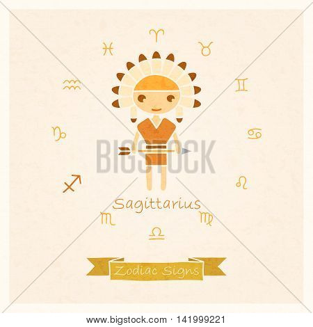 vector illustration of zodiac sign Sagittarius with texture of paper