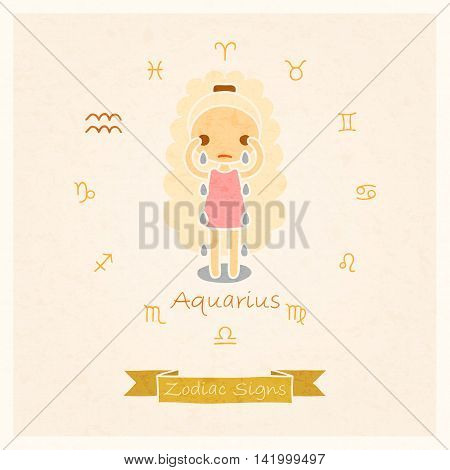 vector illustration of Aquarius zodiac sign with texture of paper