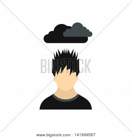 Depressed man with dark cloud over his head icon in flat style on a white background