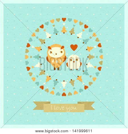 vector amusing card with owls and decorative round frame