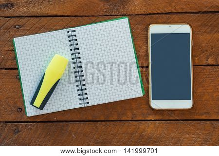 Yellow Text Marker, Note Pad And Smart Phone
