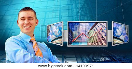 Businessmen and monitors with business architecture background