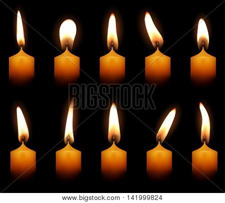 Candles Flame Fire Light Isolated on Black Background