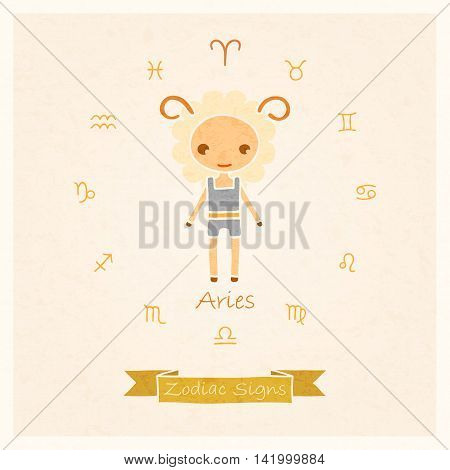 vector illustration of zodiac sign Aries with texture of paper