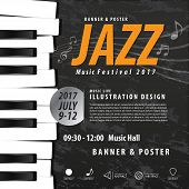 Keyboard, Musical Instrument Design Realistic Style And Poster Music Festival Layout For Commercial poster